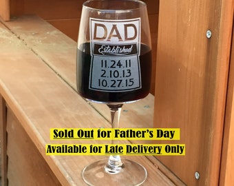Fathers Day Gift for Dad Husband Gift for Men Wine Glass