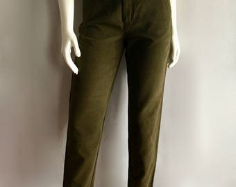 Vintage Women's 80's Olive Green Pants, High Waisted, Tapered Leg by Banana Republic (S)