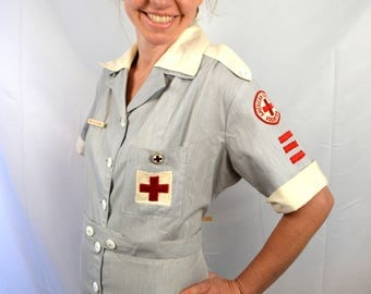 Vintage 1950s 50s 60s Red Cross Candy Striper Nurse's Uniform