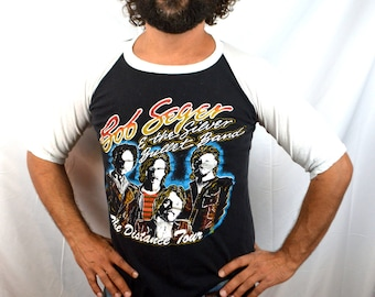 Authentic 1980s RARE Vintage Bob Seger and the Silver Bullet Band 80s Tee Shirt Raglan Tshirt