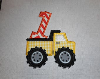 Free Shipping Ready to Ship Number 1 Dump Truck Machine Embroidery Iron on applique