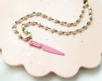 Bad Babe Small Mini Doll Pink Plastic Knife Pearly Beaded Necklace