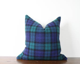 "20""x20"" Blue Green Plaid Vintage Wool Pillow Cover 