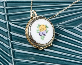 Multiple Frame Coro Guilloche Locket, Four Photo Locket, Small Purple and Yellow Pansy Flower Locket, 4 Pictures Multiple Photos and Frames