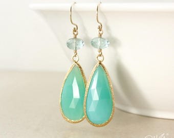 Gold Aqua Quartz & Green Chrysoprase Teardrop Earrings - Mint Green Earrings - 14Kt GF
