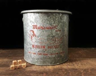 Vintage Minnow Bucket, Minnow Pail, Mermaid Brand, Canadian Tire Fish Bucket, Fishing Gear, Rustic Decor