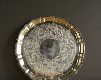 Vintage Silver Petal Tray - Round Silverplate Platter or Serving Tray - Gorham Tray