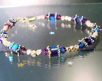 Swarovski, Hill Tribe Fine Silver & Bali Sterling Bracelet, Shades of Purple Stacking, Layering Silver Bracelet