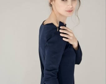 SALE - Office dress | Navy blue zipped dress | Pocket dress | LeMuse dress