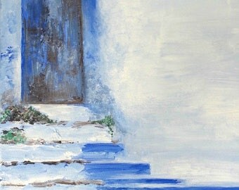 "Blue Door Art, Door Painting, Landscape Art, Acrylic Print, Blue Art, Old Door Art- Fine Art Giclee Print of Acrylic Painting ""Blue Door"""