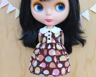 Blythe Dress - Colourful Hedgehogs with collar