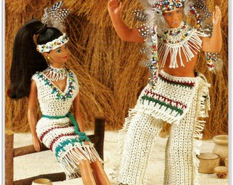 Crochet Native American Clothing Pattern - Fits Barbie & Ken - PDF CR222217