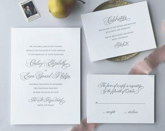 Letterpress Wedding Invitation - Bello Design - Foil, Calligraphy,Traditional, Elegant, Simple, Classic, Script, Custom, Formal