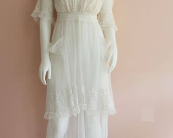 Antique 1910s Sheer Net and Lace Tiered Ruffled Long Dress