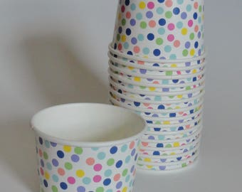 1 Set of RAINBOW POLKA DOTS Party Cups Snack Cups Ice Cream Cups Dessert Bowls - Baby Shower, Summer Birthday, Polkadot Party, Unicorn Party