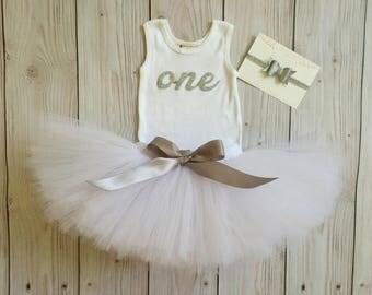 Tutu Dress   Birthday Tutu   Baby Tutu Skirt   White Silver Tutu by Strawberrie Rose   1st Birthday Tutu