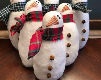 Christmas Snowman Tree Ornament Set - Primitive White Snowman Ornie - Farmhouse Decor - Tree Decorations - Christmas Decor - Snowman Decor