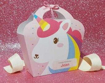 Kawaii Pink Unicorn Giftbag Cute Rainbow Love Birthday Party Treat basket Bag Packaging Editable Printable PDF