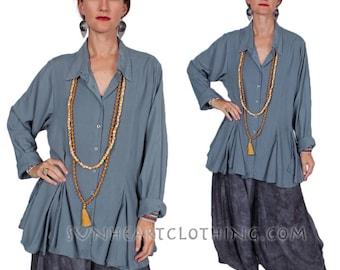 Sunheart Taos Ruffle Shirt Blouse Top Boho Twilight Hippie Chic Resort Wear Casual Women's Fashions Sml-2x