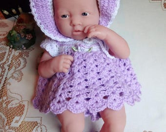 Clothes Crochet for 13 inch Berenguer My Sweet Love Newborn Baby Doll Bonnet Dress Bottoms Shoes