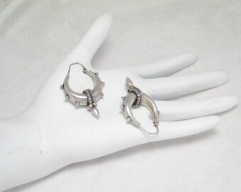 Sterling Silver spike hoop earrings grunge punk goth design dangle drop chandelier  post stud womens mens trans fine jewelry