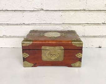Vintage Asian Lined Jewelry Box with Brass Hardware and Jade Inlay