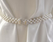 White pearl belt, wedding belt, pearl belt, white Wedding belt, white beaded belt , stretch belt
