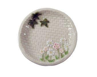 wedding ring dish or ring bearer dish, great alternative to ring bearer pillow featuring a garden wall with flowers / ceramic ooak nst