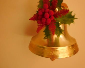 Musical Gold Tone Christmas Bell