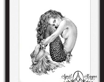 Mermaid- Illustration- Black and white- 8 X10 signed print- woman- portrait- fine art -siren