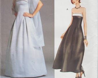 Vogue 2376 / Designer Sewing Pattern By Tom And Linda Platt / Strapless Dress Gown / Sizes 8 10 12