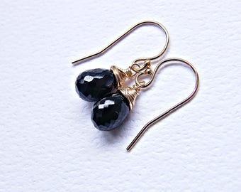 Gold black gemstone earrings, black spinel earrings, gemstone drop earrings, black gold earrings, wire wrapped small earrings in gold fill