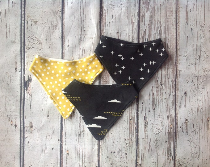 Black and Yellow Thunderstorm Organic Drool Bibs Set of 3