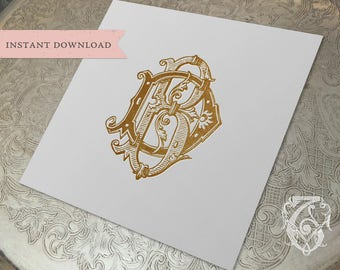 Vintage Wedding Monogram BD DB Digital Download B D