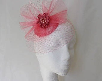 Coral Salmon Pink Vintage Style Blusher Veil & Crinoline Percher Fascinator Hat - Wedding Royal Ascot- Ready Made