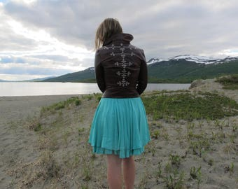 Reindeer Leather jacket with Sami tin embroidery