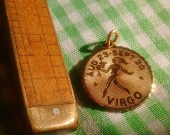 Small Virgo Zodiac Pendant or Charm, Gold Tone Metal, Engraved on back