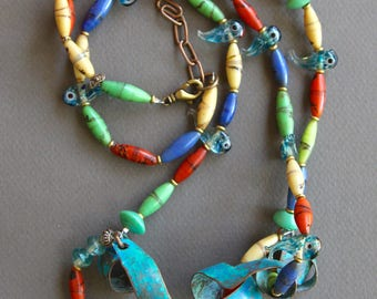 Colorful Glass Fish Necklace Set w Vintage Blue and Clear Lampwork Glass Fish Matching Earrings Fun Unusual Ethnic Boho Jewelry