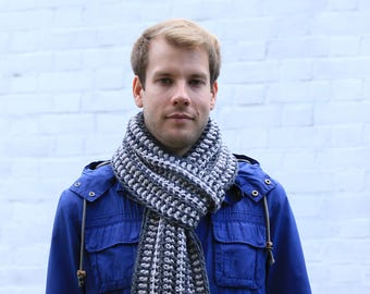 Men's Scarf, Mens Long Scarf, Men's Striped Scarf, Scarf for Men Scarf for Women, Unisex Scarf Gray, Gift for Him, Men's Fashion Accessories