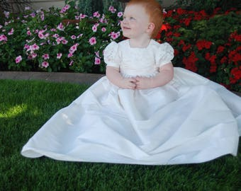 Cathy Christening Dupioni Silk-poly Gown /  Christening Dress  / Blessing Gown / Blessing Dress