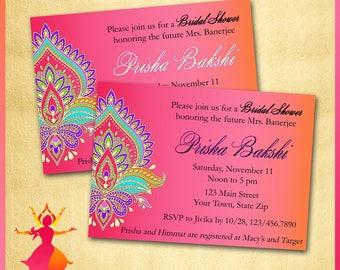 Mehndi shower invite etsy indian invitation birthday bridal or baby shower engagement anniversary maticoor sangeet pink orange moroccan asian filmwisefo Images