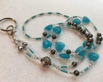 Aquamarine Blue Heart ID Badge Lanyard standard length detachable keyring