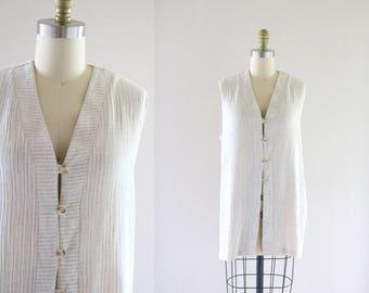 linen blend button tunic