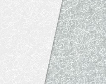 White Tone-on-Tone Floral 100% Cotton Quilt Fabric Blender for Sale, GALQUW21677-WHI, Fabric by the Yard, Material by the Yard