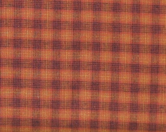 Burnt Orange, Black and Gold Plaid Yarn Dye 100% Cotton Quilt Fabric for Sale, Kim Diehl's Helping Hands Yarn Dyes Collection, HEG6888Y-33