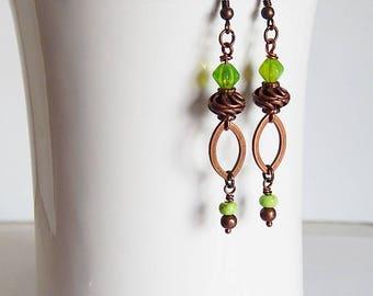 Boho dangle earrings - green czech glass earrings - long dangle earrings - statement earrings - lightweight copper earrings  - bohemian