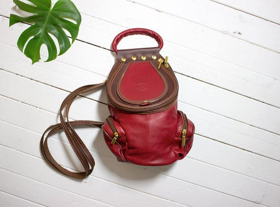 Vintage Leather Backpack / Mini Leather Backpack / Red Leather Backpack / Mini Backpack / Backpack Purse