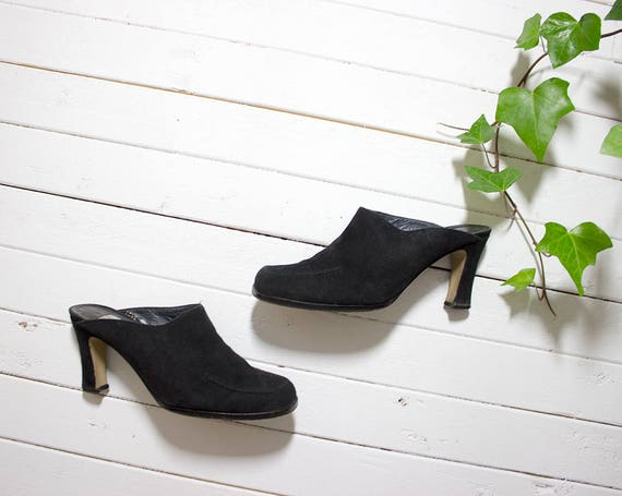 Vintage Leather Mules 6.5 / Black Leather Mules / Suede Slip On Mules / Black Suede Mules / Leather Slip Ons