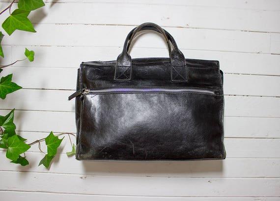Vintage Tote Bag / Black Leather Tote / Structured Purse / Leather Tote Bag / Leather Tote Purse / Italian Leather Bag / Oversized Purse