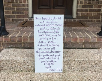 1 Peter 3:3-4 ~ Your Beauty Shall Not Come From Outward Adornment ~ Nursery Decor ~ Scripture Wall Art ~ Inspirational ~ Gift For Daughter
